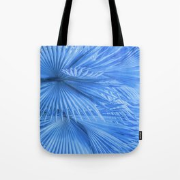 Blue Tropical Jungle Palm Leaves Tote Bag