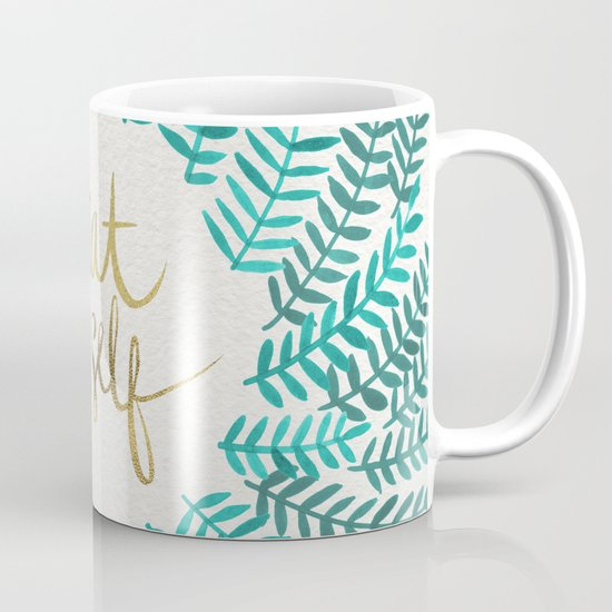 Treat yo self gold turquoise coffee mug by cat for Best coffee mugs for home