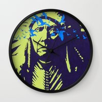 native american Wall Clocks featuring Native American  by Ty McKie Creations