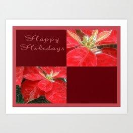 Mottled Red Poinsettia 1 Ephemeral Happy Holidays Q10F1 Art Print