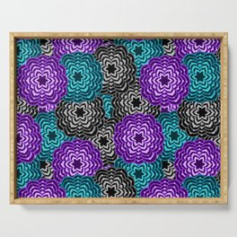 Dahlia Multicolored Floral Abstract Pattern Serving Tray