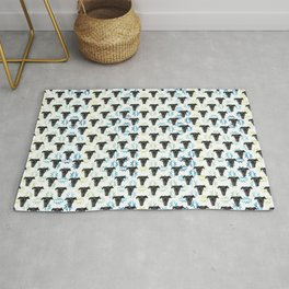 Black Puppy Faces & Abstract Blue Patterns Rug