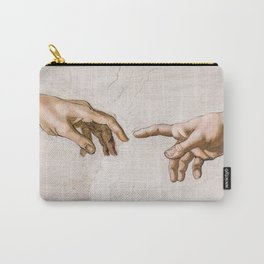 Hands of God the Father and Adam, Sistine Chapel Ceiling by Michelangelo Carry-All Pouch