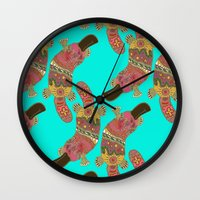platypus Wall Clocks featuring duck-billed platypus turquoise by Sharon Turner