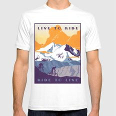 live to ride, ride to live retro cycling poster MEDIUM White Mens Fitted Tee