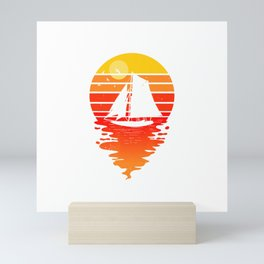 Vintage Sailing Sail Boat Sunset Retro Sailboat T-Shirt Mini Art Print