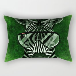 Hipster Zebra in Green Rectangular Pillow