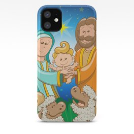 Sweet scene of the nativity of baby Jesus iPhone Case