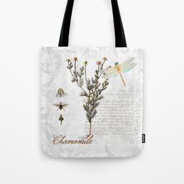 Chamomile Herb, Dragonfly Bumble Bee Botanical painting, Cottage style Tote Bag