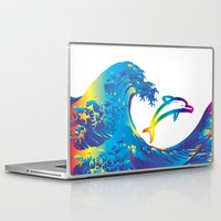 hokusai Laptop & iPad Skins featuring Hokusai Rainbow & dolphin_C by FACTORIE