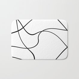 """Abstract lines"" - Black on white Badematte"