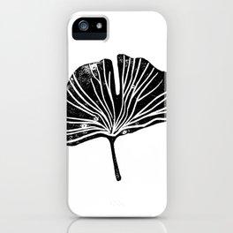 Gingko leaf linocut black and white minimal art print botanical study art iPhone Case