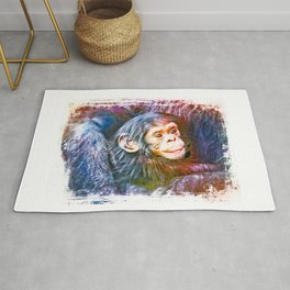 Cute Chimpanzee Baby Rug