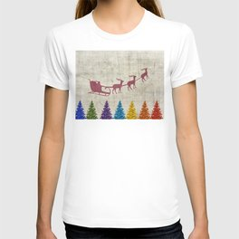 Santa's Sleigh and Colorful Trees T-shirt