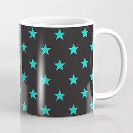 Stary Stars - Tiffany blue on black background Coffee Mug