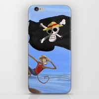 luffy iPhone & iPod Skins featuring Monkey D Luffy by Laércio Messias