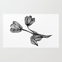 black and white flower drawing Rug