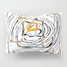 drawing square triangle and circle pattern abstract in orange blue and pink Pillow Sham