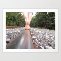 Foot Prints, Train Tracks Art Print