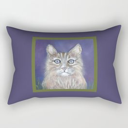 CUTE YOUNG TABBY CAT GREY BEIGE CHALK PASTEL DRAWING Rectangular Pillow