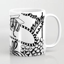 Bee black and white doodle drawing Coffee Mug