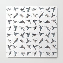 Hummingbird Pattern Metal Print