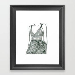 Striped Dress | Print from original watercolor painting Framed Art Print