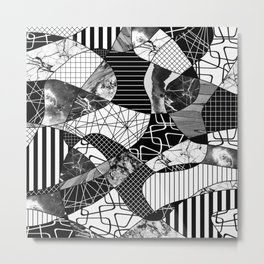 Chaotic Black And White Metal Print