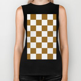 Large Checkered - White and Golden Brown Biker Tank