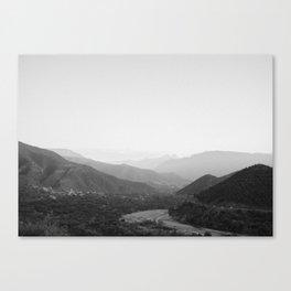 Black and white Atlas Mountains of Ourika Morocco Canvas Print