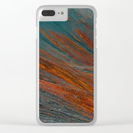 Red and blue turquoise mountain slope Clear iPhone Case