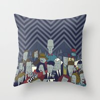 twin peaks Throw Pillows featuring Twin Peaks by Ale Giorgini