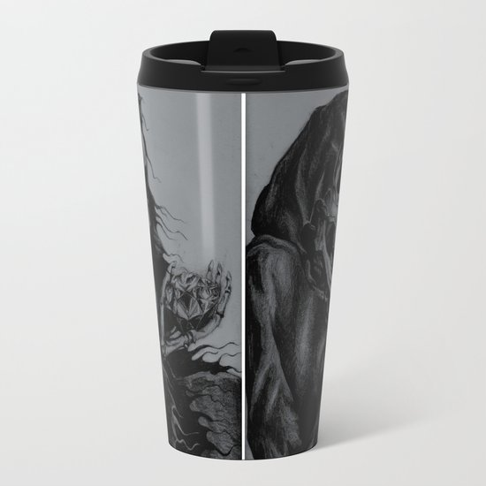 Skeleton Holding Diamond Metal Travel Mug