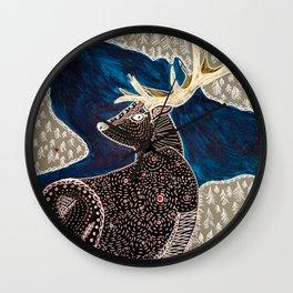 Folk Art Elk Wall Clock