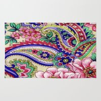 deco Area & Throw Rugs featuring Floral Deco by Elena Indolfi