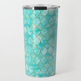 Luxury Aqua Teal and Gold oriental quatrefoil pattern Travel Mug