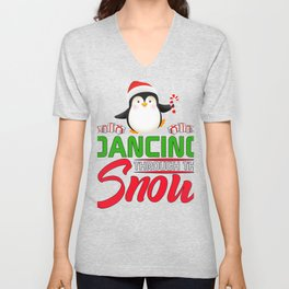 Cute Christmas Penguin Dancing through the Snow Unisex V-Neck