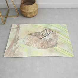 """Watercolor Painting of Picture """"Vizcachera Owl"""" Rug"""