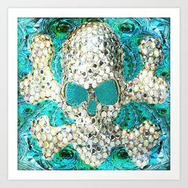 Blingy Blingy Blue Skull Thingy Art Print