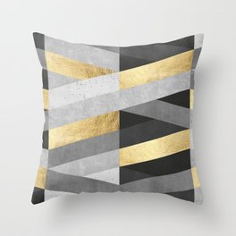 Gold and gray lines IV Throw Pillow