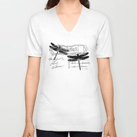 postcard V-neck T-shirts featuring Dragonflies postcard by Marion de Lauzun