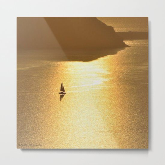 Golden Sailing on a Glittering Sea Metal Print