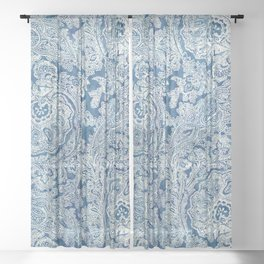 Blue Boho Paisley Pattern Sheer Curtain