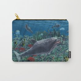 Dolphins play in the reef Carry-All Pouch