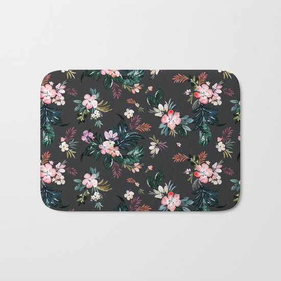 Layla - Tropical Floral - black Bath Mat