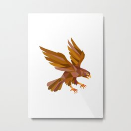 Peregrine Falcon Swooping Low Polygon Metal Print