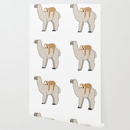 Cute & Funny Sleepy Sloth & Llama Wallpaper