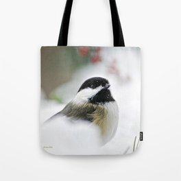 White Winter Chickadee Tote Bag