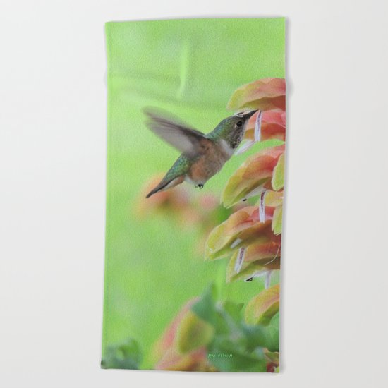 Hummingbird in Justicia Beach Towel