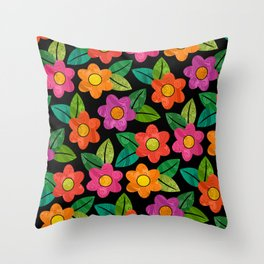 Big Bold Textured Flowers on Black (pattern) Throw Pillow